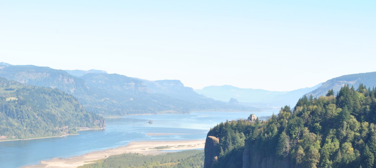 Crown Point along the Columbia River in Oregon as seen from Chanticleer Point at the Portland Women's Forum State Scenic Viewpoint. It's a big world out there, with big words to tell about it.