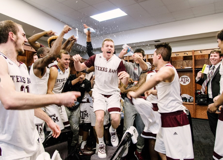 Texas A&M celebrates after a double-overtime comeback win over Northern Iowa on Sunday night in the NCAA Tournament. The Aggies remind us all to never give up. Photo by Thomas Campbell/Texas A&M Athletics