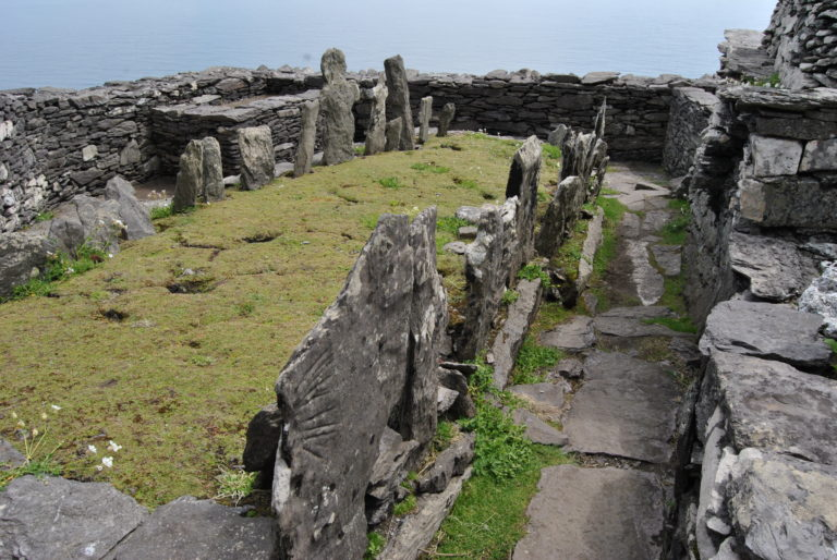 The earliest documents point to around 600 A.D. as the date for Christian monastic arrival to the Skellig Islands. Many monks lived and worked on the island, growing food, raising small livestock and fulfilling their ultimate goal: worship of the Most High God. Atop the summit of Skellig Michael, the monks would bury their own within the monastery. The larger the marker, supposedly the more holy the monk.